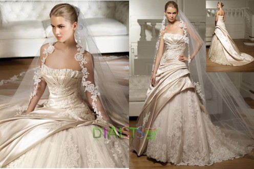 Light Champagne Strapless Wedding Dress