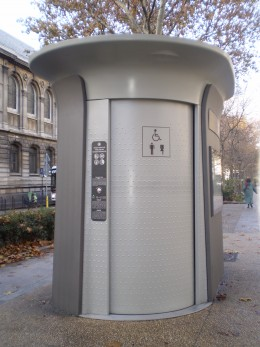 There are many public toilets such as this one around Paris. They are free and will automatically clean itself after each use.