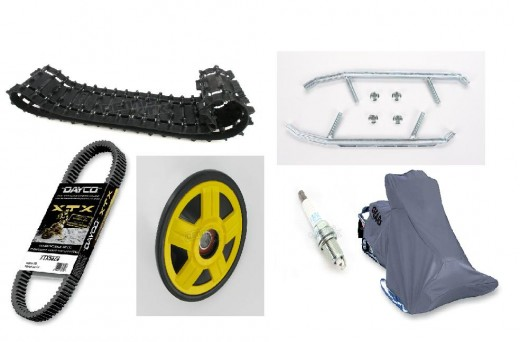 Top Left: Belt. Top Right: Carbides and screws to attach them to the ski. Bottom Left: Spare Belt. Bottom Left/Middle: Wheel for track. Bottom Right Middle: Spark Plug. Bottom Right: Cover for the snowmobile.