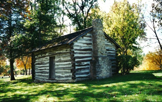 Log cabin built by Andrew Bennett in the Winterset City Park.