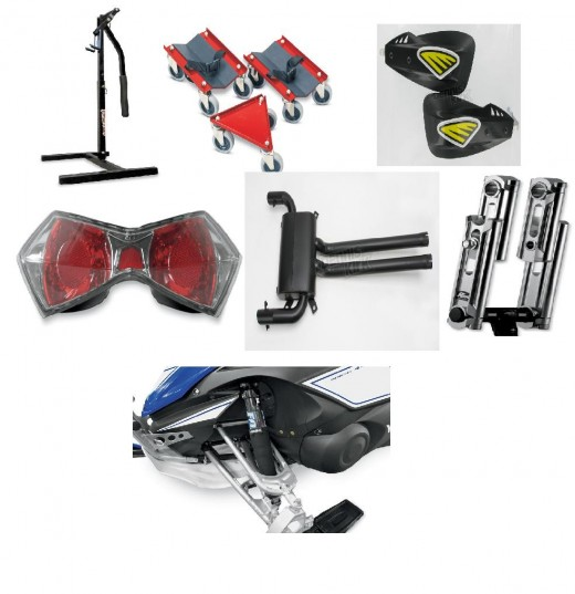 Top Left: Snowmobile Jack Stand. Top Center: Shop Dollies. Top Right: Handle Bar Wind Deflectors. Center Right: Lens Cover. Center Middle: Silencer. Center Left: Handlebar Riser. Very Bottom: Shock Covers.