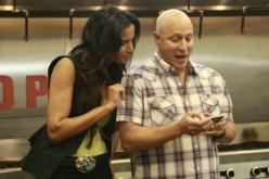 Padma looks on as Tom #tweets