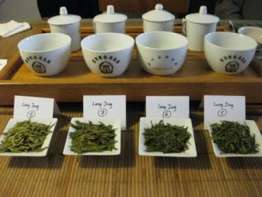 different varieties of green tea