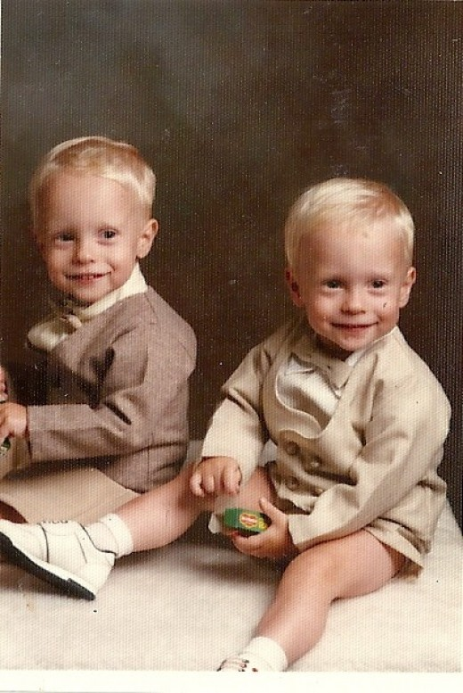 """Outfits I had found for the boys for Easter when they were two years old. I loved the little shorts look on little guys, and I love the way we had to """"bribe"""" them with raisins to get them to sit STILL for the picture!"""