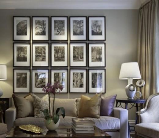 Fifteen framed black & white prints