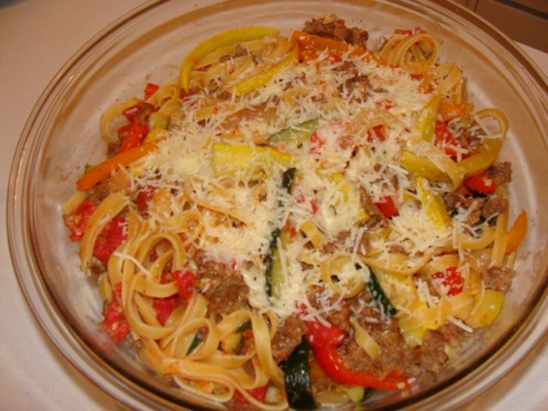 Creamy Tomato Fettuccini with Italian Sausage and Vegetables