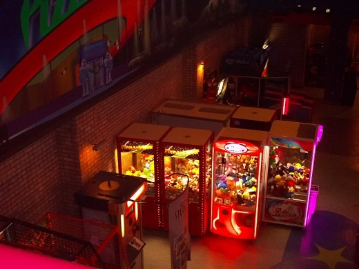 View of the claw machines from the 2nd floor balcony