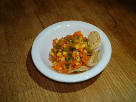 Carrot salsa is a fun twist on a favorite snack!