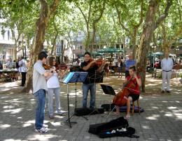 A quartet plays Mozart