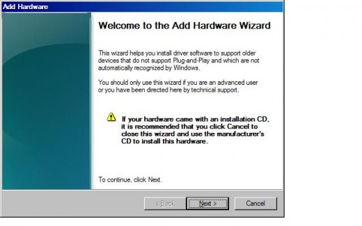 """Click """"Next"""" in the first window that appears in the Add Hardware dialog box."""