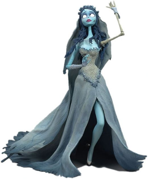 The Sexy Corpse Bride costume includes a light blue dress featuring