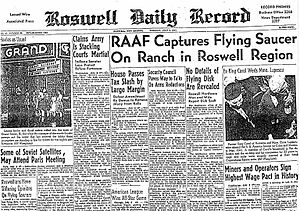 A Roswell newspaper from July 8, 1947