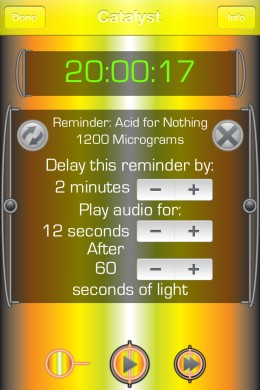 When the app detects dreaming, it will play this reminder, which may be customized with different color, delays, and audio durations