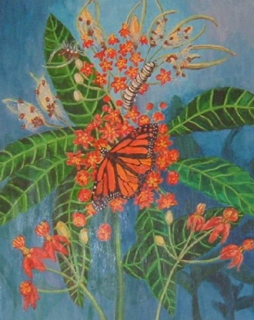 Monarch Butterfly and Milkweed by Monica Biggs