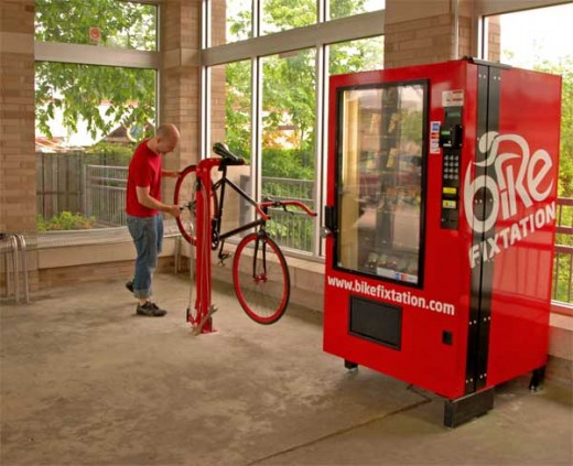 Bike Fixation kiosk complete with repair stand.