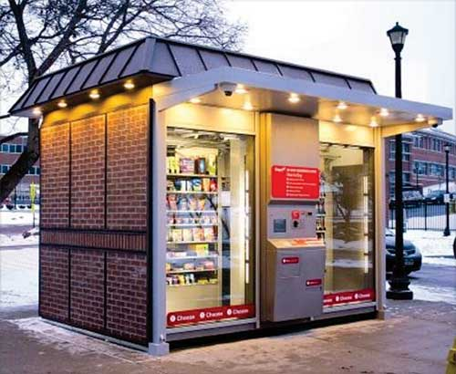 Half convenience store, half robot, it's pretty big.