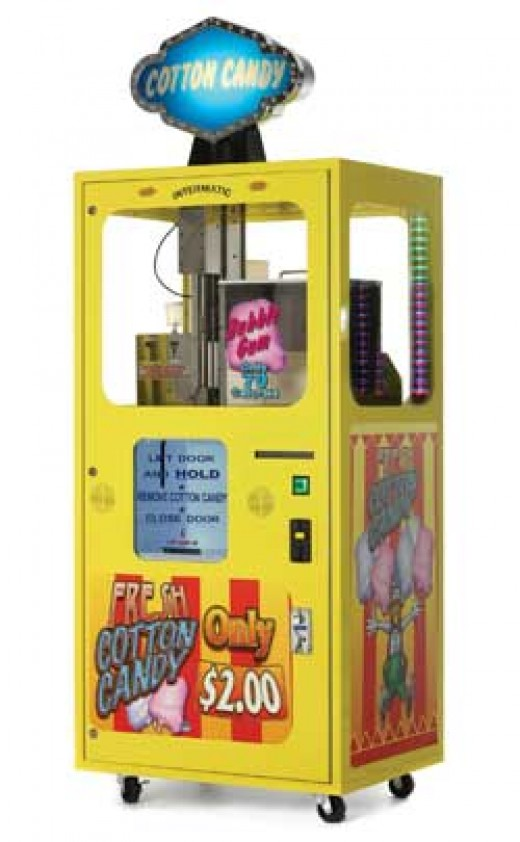 Cotton candy vending machine.  I work on one of these periodically.