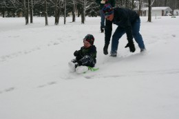 Our four year old son takes a ride on his Zipfly mini-luge. This sled is fast, fun, and steerable!