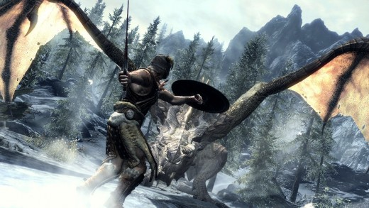 Fighting A Dragon In Skyrim.