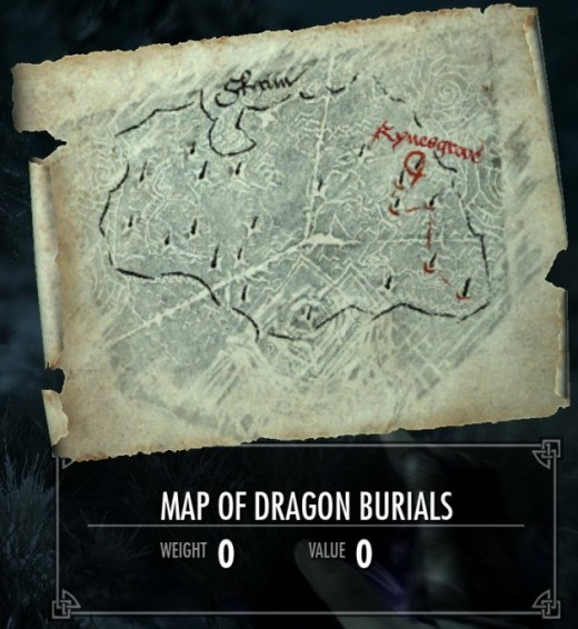 A Map Of Dragon Burial Ground Locations In Skyrim.