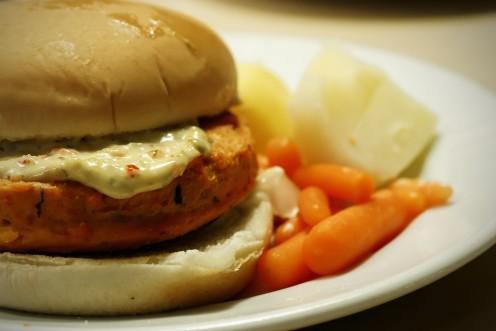 Salmon Patty in a Bun