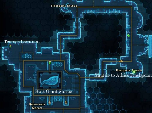 SWTOR Location of Sith Inquisitor Trainer on Nar Shaddaa