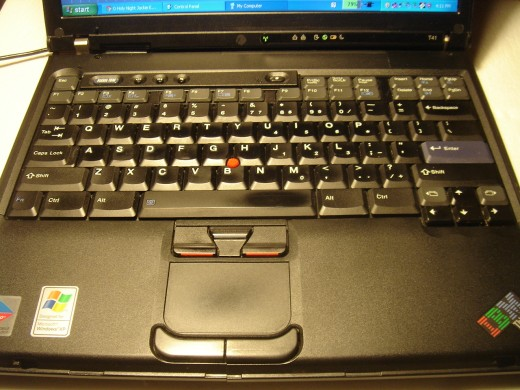 Keyboard and touchpad with sign of usage.