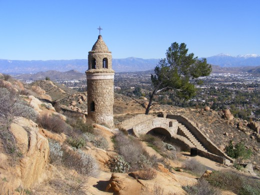World Peace castle and bridge at Mount Rubidoux.