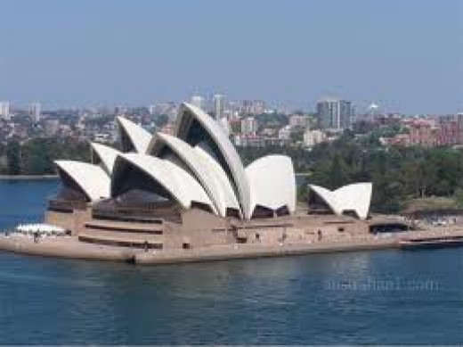 Sydney's famous Opera House.  Now an icon which, with the Sydney Harbour Bridge, is immediately recognized worldwide.