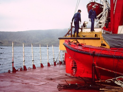 Crew getting readying Army LARCs to unload a year's supplies at Macquarie Island in 1976.