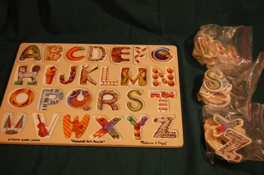Favorite puzzle, by Melissa & Doug, with pieces separated by row