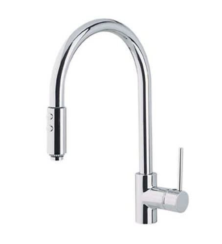 Rohl Kitchen Faucet with single handle and tall for large pots and pans in chrome with gooseneck