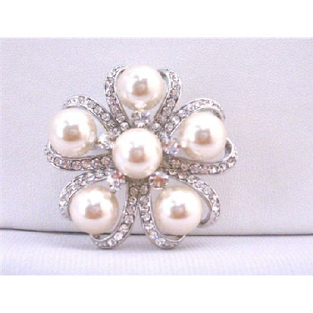 Ivory Pearls Brooch Wedding Bridal Bridemaids Dress Brooch Framed With Cubic Zircon Cake Brooch
