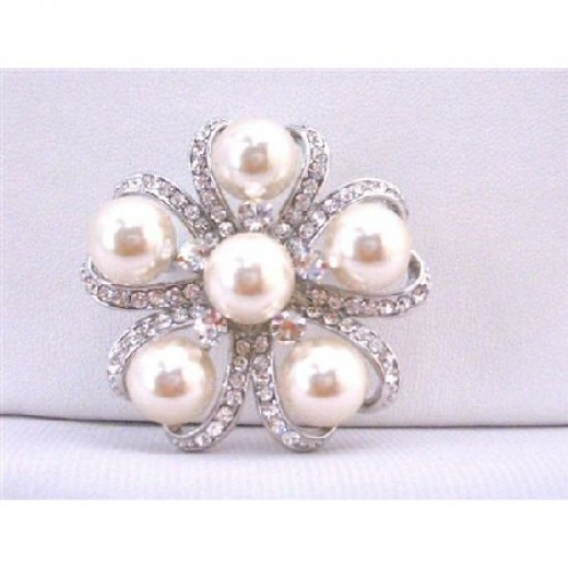 Ivory Pearls Brooch Wedding Bridal Bridemaids Dress Brooch Framed With Cubic Zircon Cake Brooch