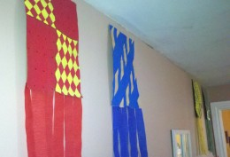 """The banners representing each house hang in the """"Great Hall."""""""