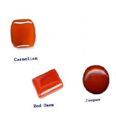 Substitute Gemstones of Red Coral - Carnelian, Red Onex  and Orange Jasper