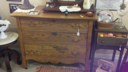 Solid oak furniture is ready to take home.  This one was priced at only $175.