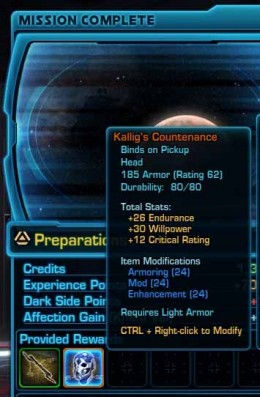 SWTOR Kallig's Mask Stats - the rewards of defeating Lord Khreusis