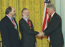 Receiving the National Medal of Honor from President Clinton