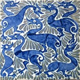 William de Morgan, fantastic ducks on 6-inch tile with lustre highlights, Fulham period