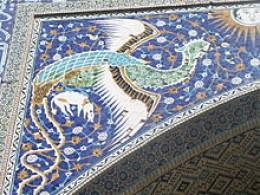Phoenix on the portal of Nadir Divan-Beghi Madrasah, Bukhara, Uzbekistan