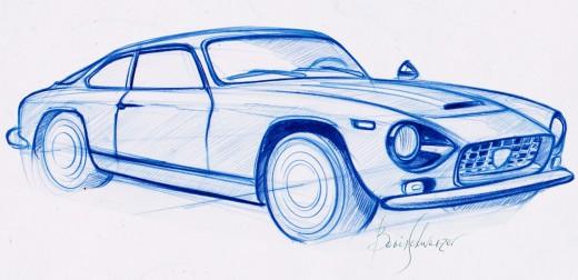 Lancia Flaminia blu prisma sketch
