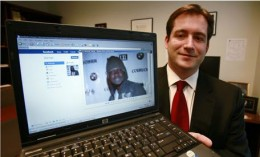 Maxi Sopo's Facebook page, displayed by Michael Scoville, helped investigators track him down in Mexico. Photograph: Elaine Thompson/AP