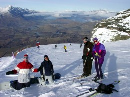 These skiers know how to dress. Looks like fun.