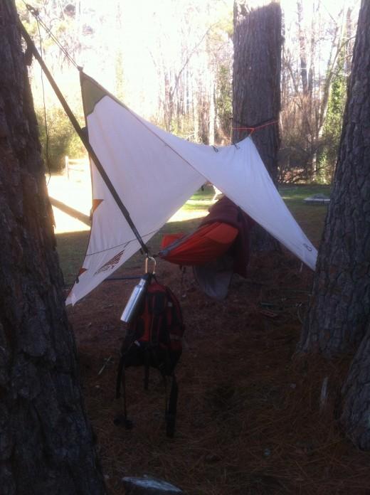 My Hammock Setup. Kelty Tarp, ENO Doublenest, Camelbak Daypack, Slap Straps Pro