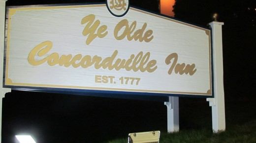 The sign outside for Concordville Inn, which is located on Route 1, in Concordville, Pa.