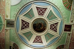 Ceiling designed by Robert Adam, now housed in the V&A Museum in London. A painting of Apollo and Horae decorate the center