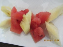 healthy dessert of tropical fruits