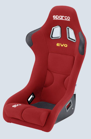 The Evo is available in red, blue and black.  Various sizes make it an ideal seat for the wide variety of body types among racers.