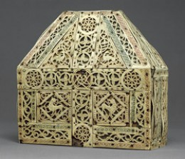 A North Italian bursa (purse-shaped) reliquary (container for relics) of ivory, wood, and copper, made in the early 900s.